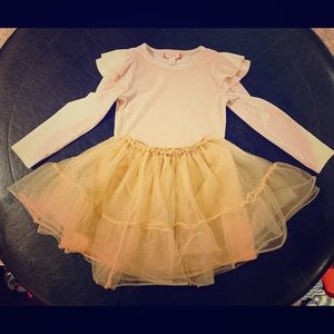 3t Gold shimmery tulle skirt and pink velvet shirt